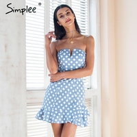 Simplee Strapless Polka Dot Mini Dress Women Sexy Backless Ruffle Bodycon Dress Party 2018 Summer Style