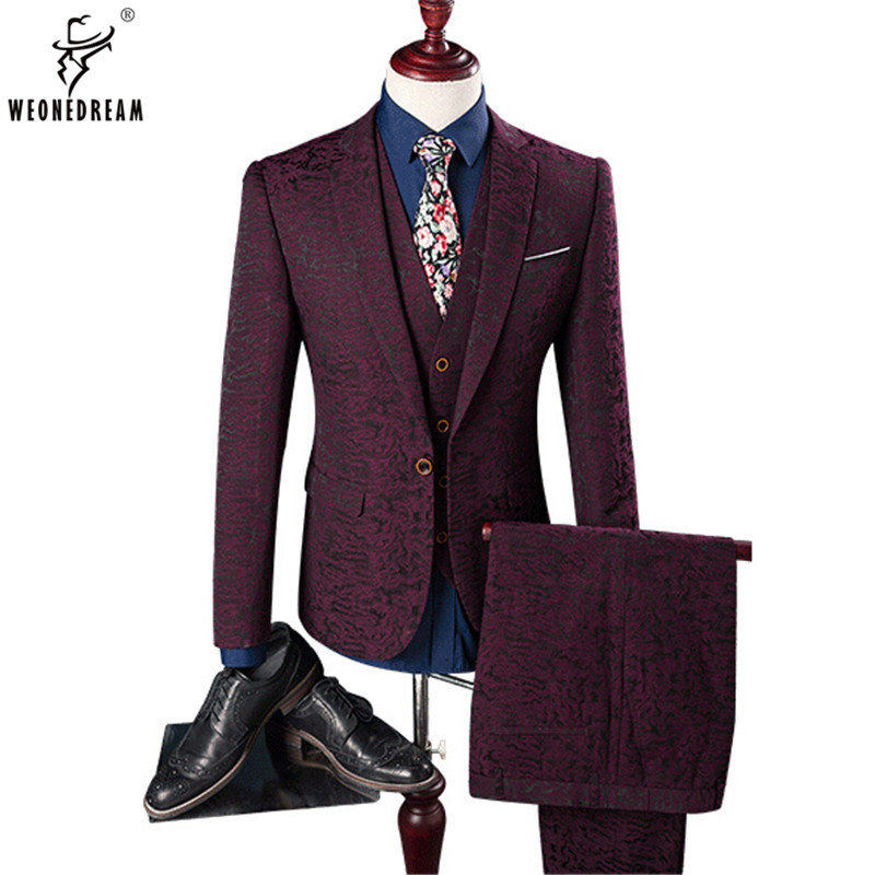 Weonedream Hot 2018 Man Business Casual Suit 3 Pieces Set Include Vest Professional Formal