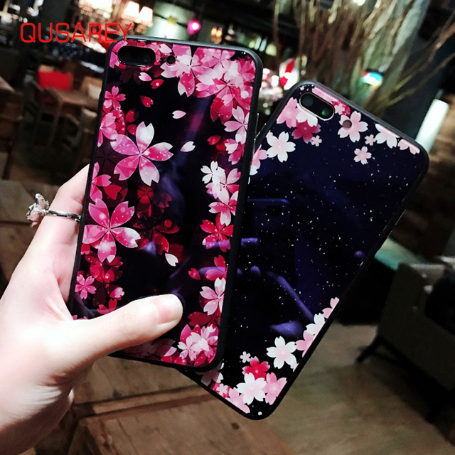 QUSAREY Phone Case Blue Light Tempered Glasss Phone Case For iphone 6 6s 7 8 plus X Sakura Flower Printed Luxury Hard Case Capa