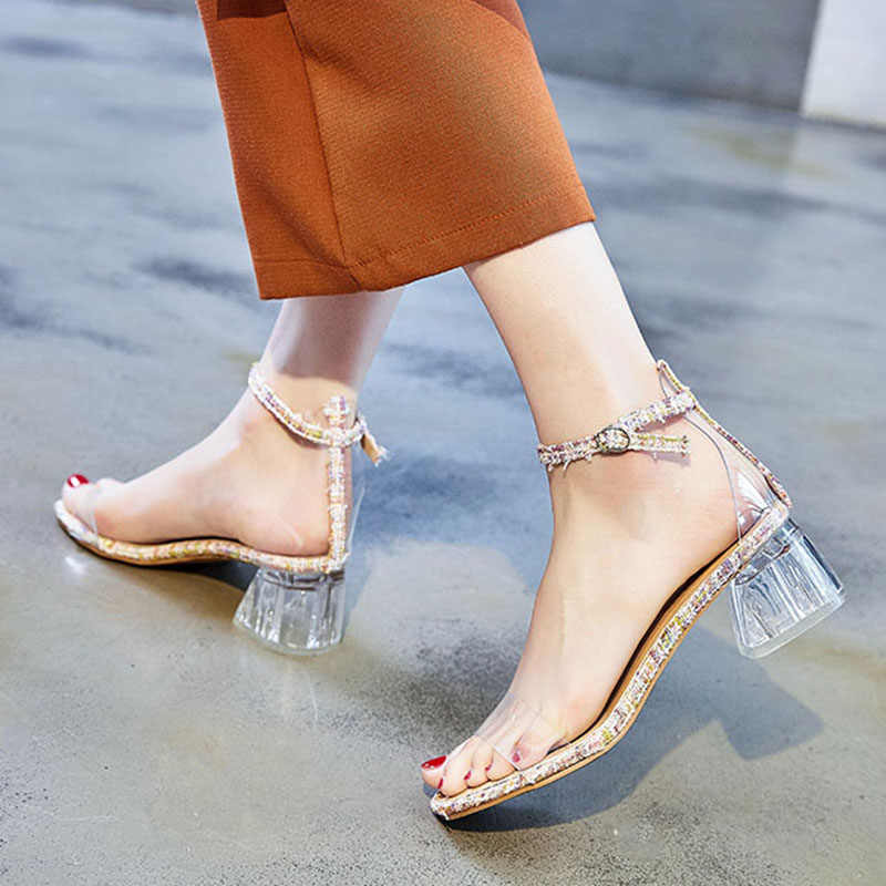 Women Sandals 2019 Summer Glass Heels Sandal Transparent Jelly SHoes Ankle Strap Sandalias Mujer crystal Heeled Shoes Woman 7373