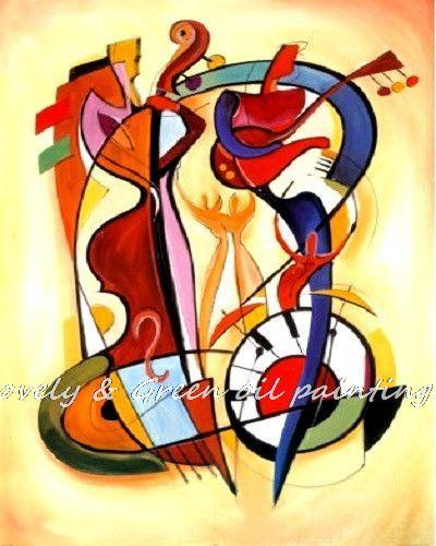 Free Shipping Handmade Modern High Quality Abstract Art Crazy Playing Music Oil Painting Wall Decor Canvas Painting 80x100cm