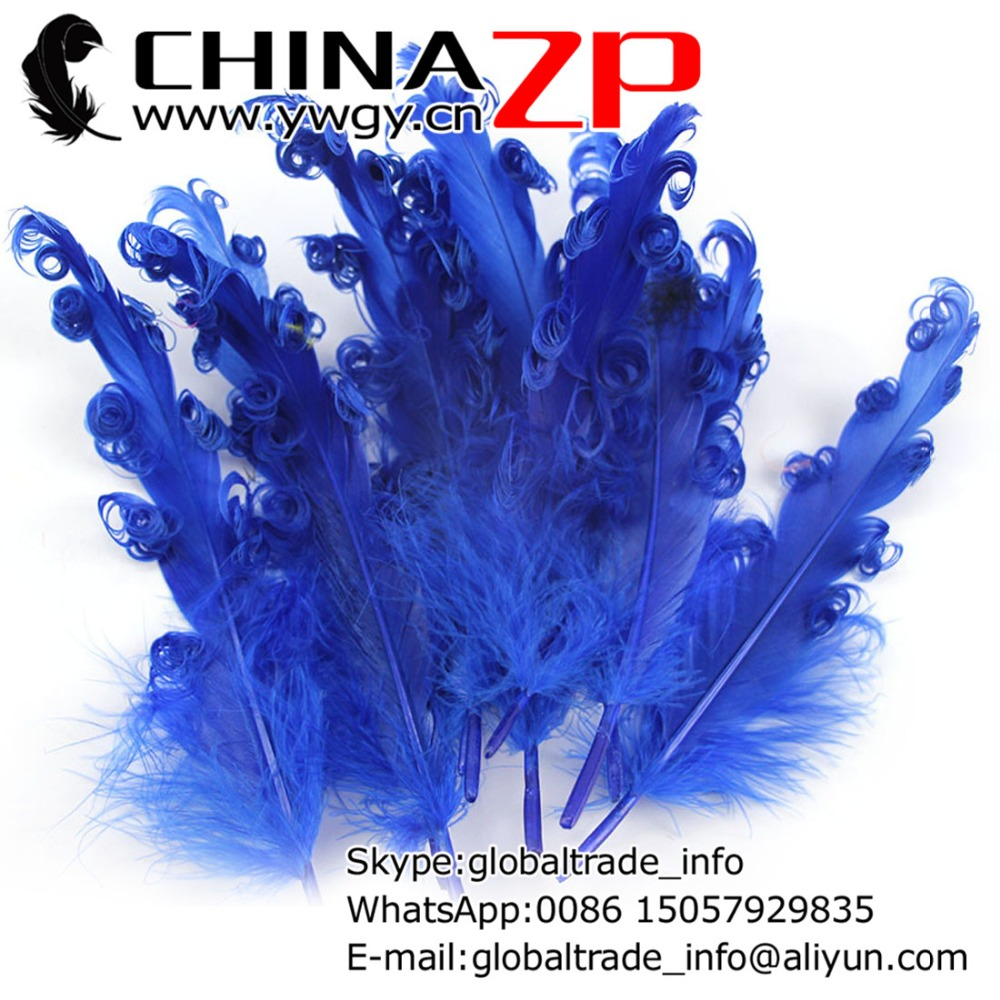 CHINAZP Factory 100pieces/color/lot Top Quality Dyed Royal Blue Goose Satinettes Curled Loose Feathers for Hair Bows