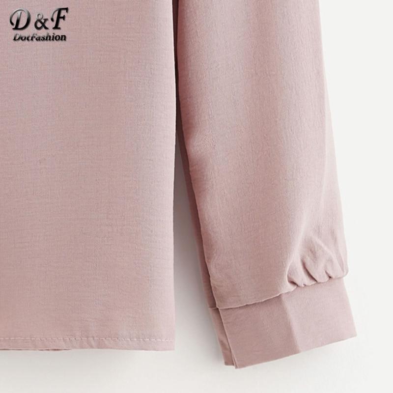 dec268b8144d63 Dotfashion Mesh Panel Crochet Appliques Asymmetric Cold Shoulder Blouse  Pink Elegant Tunic Top Autumn Long Sleeve Cute Blouse-in Blouses   Shirts  from ...
