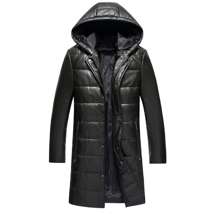 Горячая зима новая мужская брендовая кожаная одежда мужской пуховик длинный тонкий съемный капюшон толстые пальто корейское пальто с мехо... - 3