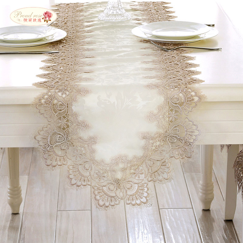 Proud Rose Lace Table Runner Table Flag Tablecloth European Rectangular Table Cloth TV Cabinet Cover Cloth Wedding Decoration