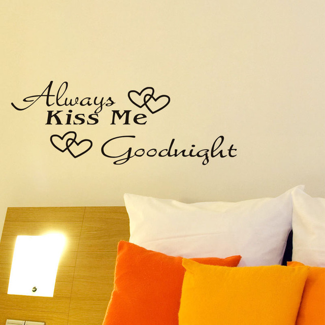 Quotes Wall Stickers For Kids Rooms Always Kiss Me Goodnight Words ...