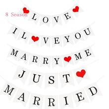 8Season White Just Married Banner Wedding Bunting Love  Photo Booth Props Romantic Paty Paper Photobooth Decoration paty cantú chile