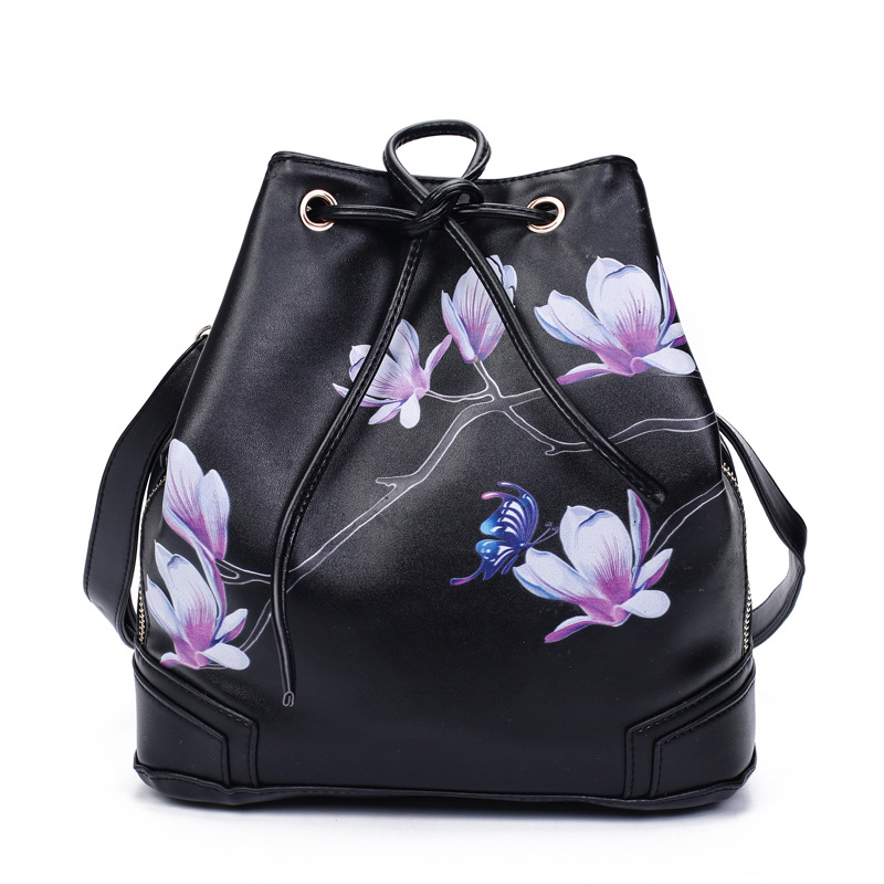 2017 Designer Women Leather Handbags Black Bucket Shoulder Bags Ladies Cross Body Bags Large Capacity Ladies Shopping Bag Bolsa forudesigns casual women handbags peacock feather printed shopping bag large capacity ladies handbags vintage bolsa feminina