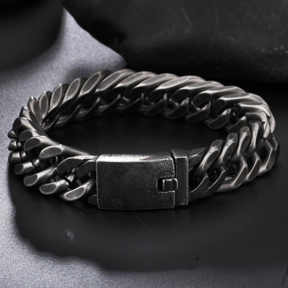 Granny Chic 13 15mm New Style Antique Finish Matte Black Stainless Steel Chain Bracelet Men Jewelry Party Christmas Gift in Chain Link Bracelets from Jewelry Accessories