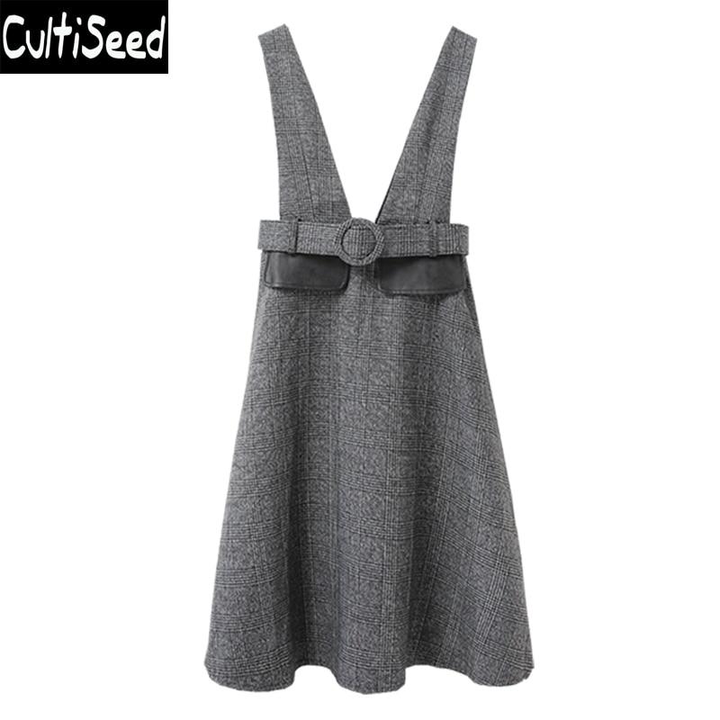 Correa Las Cintura Faldas Mujeres Otoño De Femenino Moda Cultiseed Cinturón Con Plaid Ropa Grey Alta pnwzER4xq
