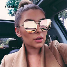 Coodaysuft Flat Top Rose Gold Men Women Mirror Sunglass Fashion Brand Designer Cool Sun Glasses wholesale Female 2017 New Cateye