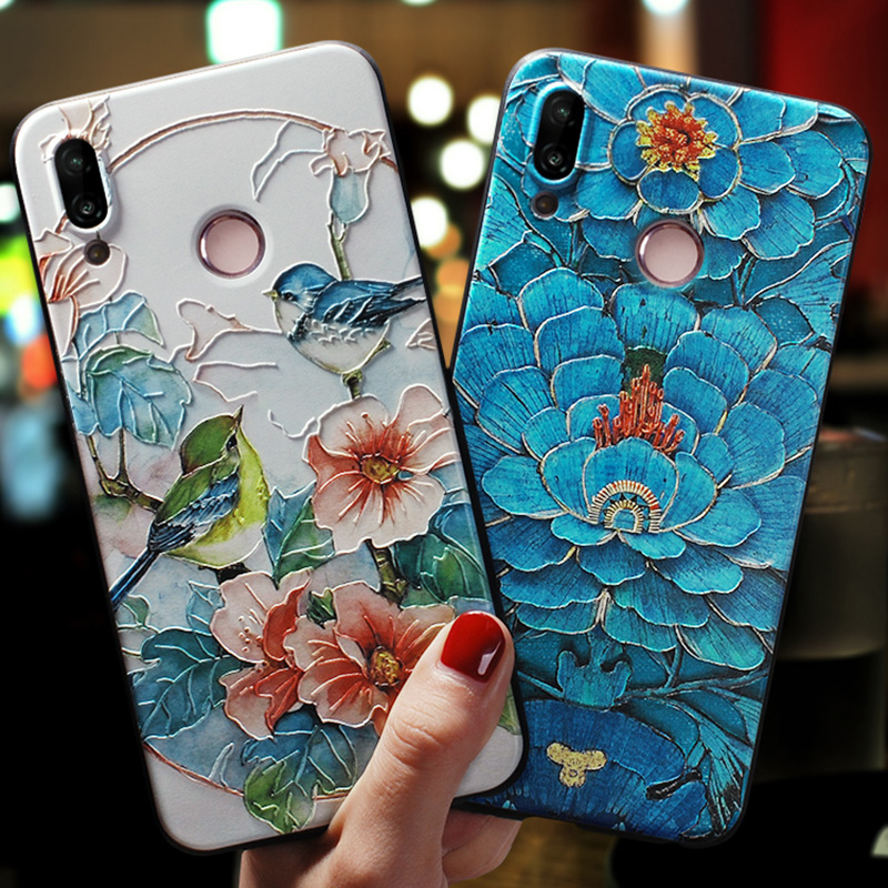 Relief Emboss TPU Flower Case For Xiaomi Mi A3 8 A1 A2 Lite 6X F1 Redmi K20 5 Plus 6A Note 7 6 8 4X 5A 8T 9 Pro Max 9s Case Capa(China)