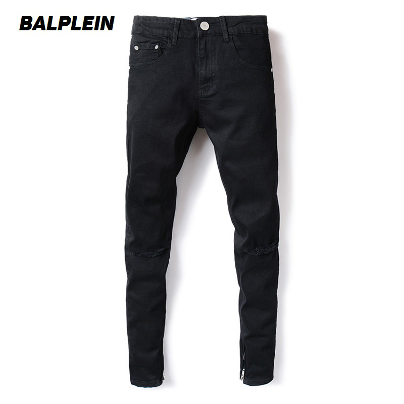 High Street Fashion Men Jeans Ankle Zipper Skinny Jeans Black Color Youth Destroyed Ripped Jeans Homme Famous Brand Jeans Men