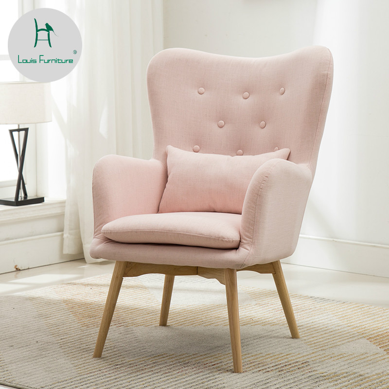 Furniture Intelligent Nordic Single Sofa Simple Modern Small Apartment Living Room Bedroom Balcony Fabric Lazy Sofa Casual Tiger Chair
