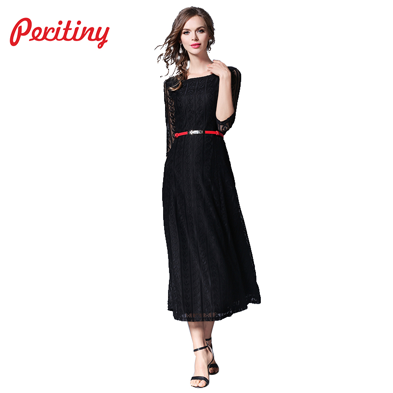 Peritiny 2018 Women Elegant Black Lace Dress for Party Half Sleeve Ankle Length Autumn Casual Spring Long Maxi Dresses with Belt