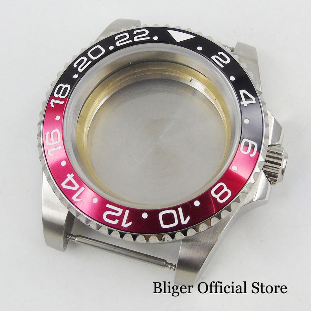 High Quality Automatic Watch Case Sapphire Glass Rotating Black Red Watch Bezel Ring Fit ETA 2836 Automatic Movement