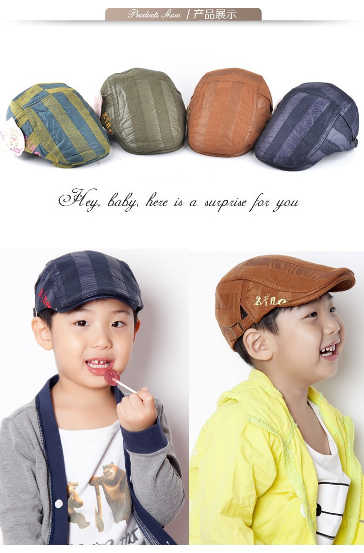 02da569170c Fashion boy accessories Autumn And Winter cool flat cap kids beret ...