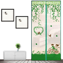Magnetic Door Curtains Magnet Mosquito Net Anti-Insect Bicycle Lovers Pattern Soft Yarn Summer Home Decoration Curtain Window monkey pattern anti mosquito mesh net magnetic curtain
