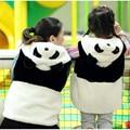 2016 nueva panda de la historieta ropa madre Gril / hijo chaleco familia del otoño del invierno ropa de abrigo y abrigos mujeres chalecos chaleco