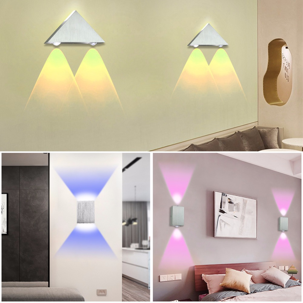 Led Wall Lamp 2W 4W6W Modern Sconce Stair Light Fixture Living Room Bedroom Bed Bedside Indoor Lighting Home Hallway Loft Silver
