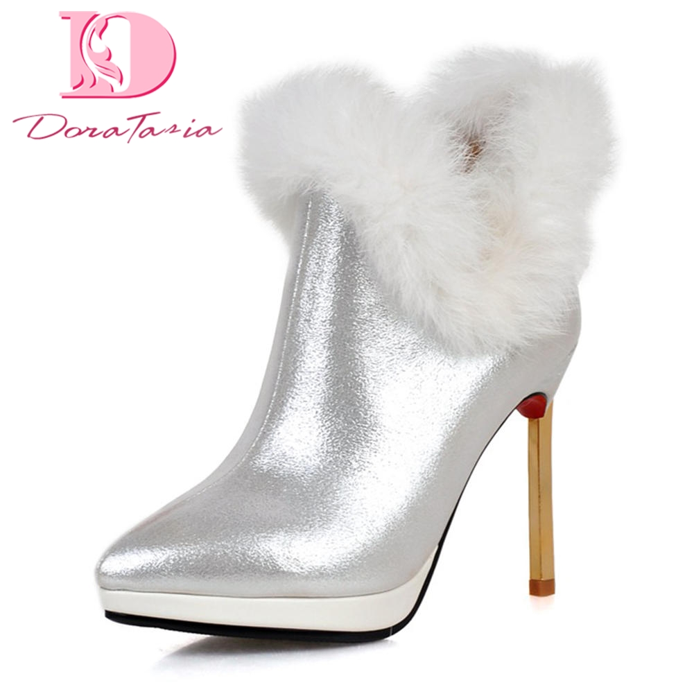 Doratasia 2018 plus size 32-43 Add Fur Warm Winter Boots women Thin High Heels Pointed Toe party wedding Ankle Boots Woman Shoes karinluna 2018 plus size 30 50 pointed toe square heels add fur warm winter boots woman shoes woman ankle boots female