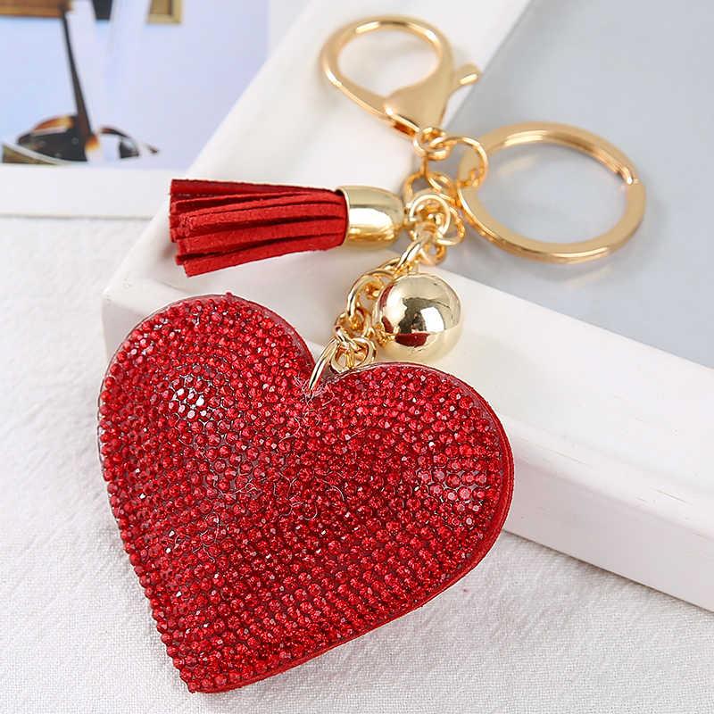 Moda carro jogar cheio de cristal strass coração chaveiro bling ouro prata corrente chaveiro saco carro pendurado pingente jóias