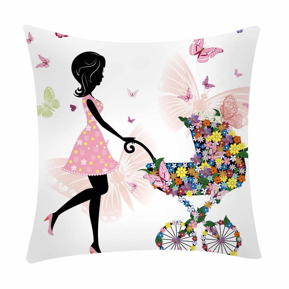 البوليستر فراشة اللوحة غطاء الوسادة زهرة الجنية فتاة لينة رمي وسادة الخصر حالة وسادة للديكور غطاء ل مقعد أريكة