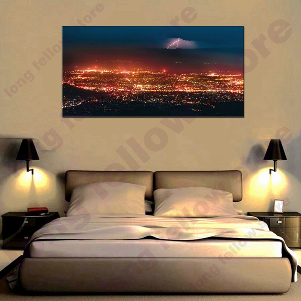 Landscape Artwork City Night Scene Picture Wall Art Painting for Living Room Office Decor Cityscape Modern Home Decorations