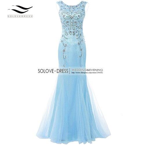 Элегантная ткань Накладка для кнопки рукав Кристалл бисером длинное платье выпускного вечера тюль русалка платье выпускного вечера Longo Vestido de festa(SLP-011 - Цвет: Sky Blue
