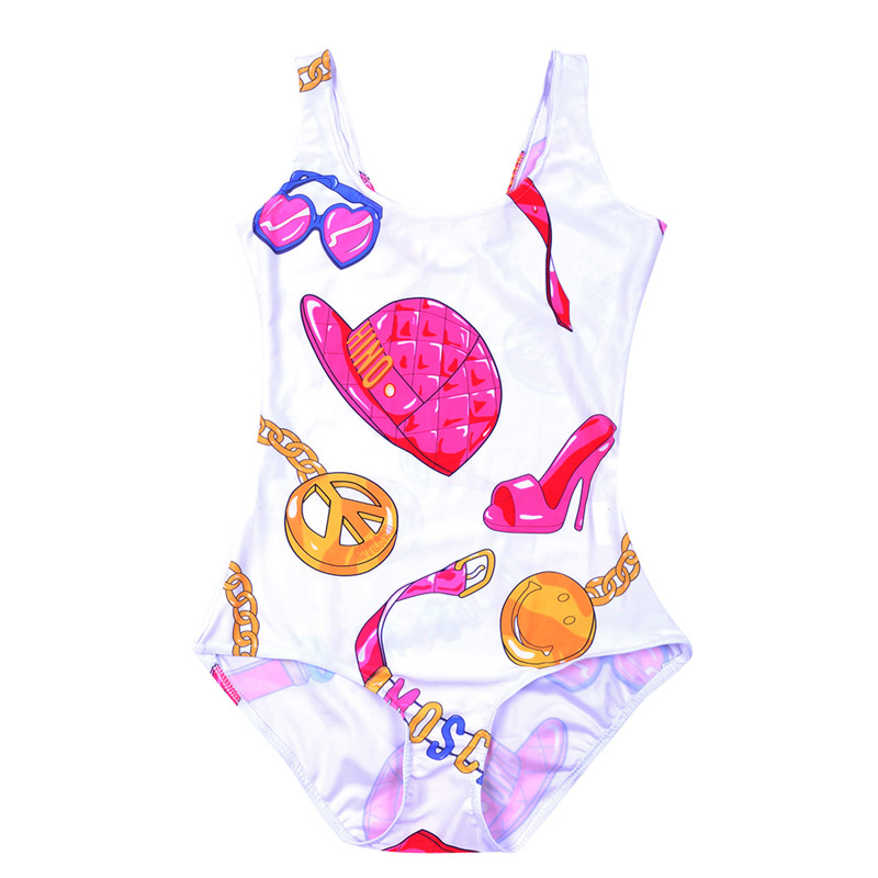NEW 1225 Sexy Girl Summer Necklace Hat Shoes Glasses 3D Prints One Piece Suit Sleeveless Swimsuit Swimwear Women Bathing Suit one piece mexican bola cage cell little girl harmony angel caller sound bell necklace