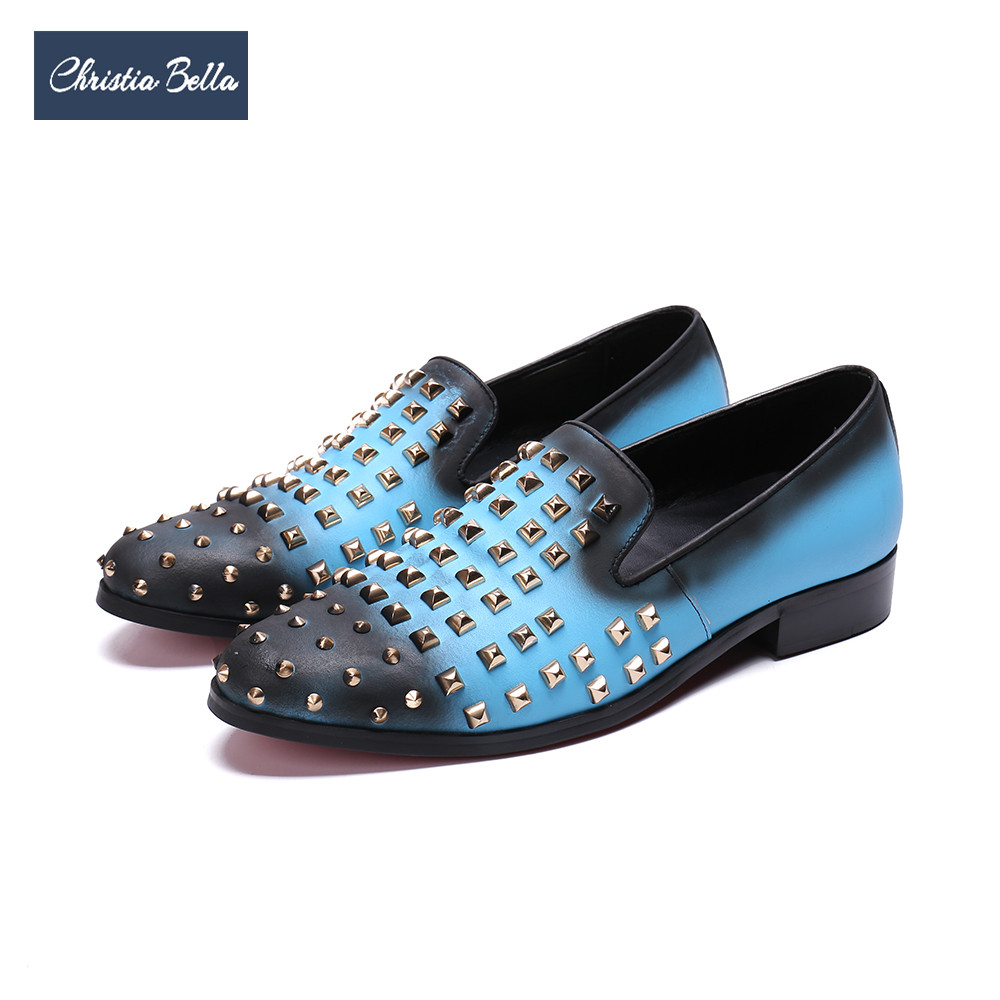 c440e3fdd Fumar Mocassins laranja Sapatos Em Deslizamento Moda Christia Designer Couro  Homens Prom Vestem Bella Azul Rebites Casamento Chinelos Genuíno Se ...