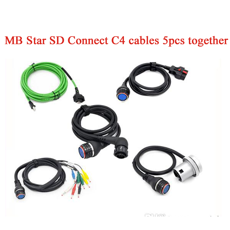 цена Best Top Quality MB STAR C4 Cables for STAR Diagnosis C4 Full Set with 5 Cables for SD C4 Connect