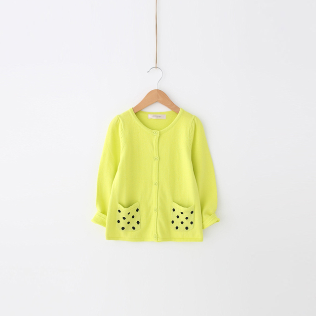 [2017] bayberry new kids children candy colored cardigan knitted sweater coat black dots