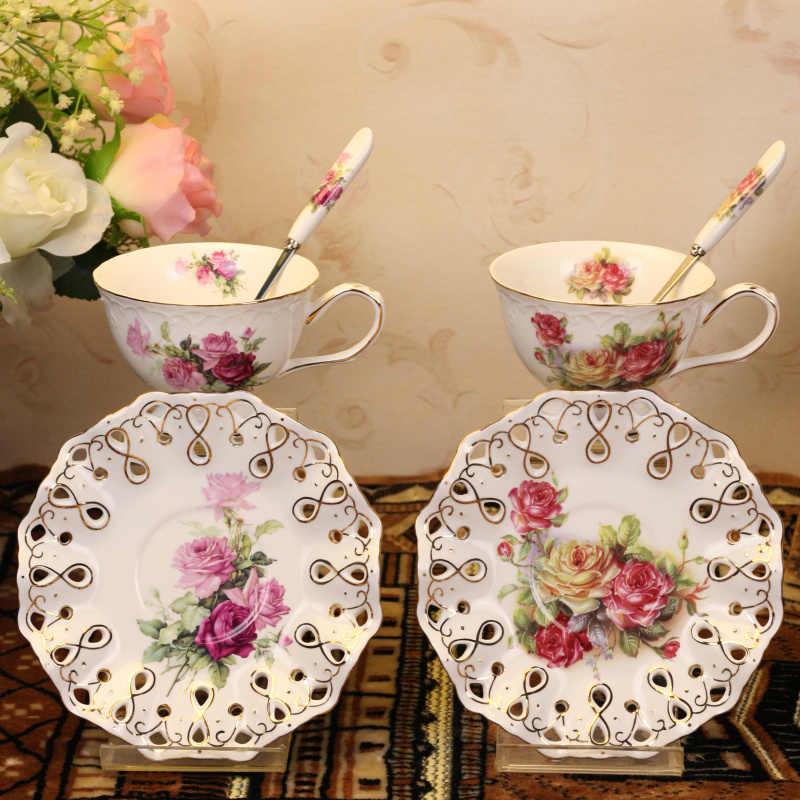 Ontinental Europese Thee Set Keramische Kopje Koffie Pak Britse Stijl Hoogwaardige Bone China Koffie Kop En Schotel Met een Lepel