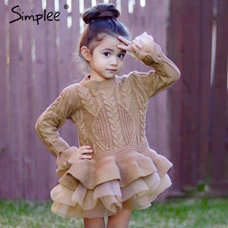 Осень 2018, теплое мини-платье для девочек, красивый свитер для девочек, пуловер кофейного цвета, вязаная верхняя одежда, нарядное кружевное п...