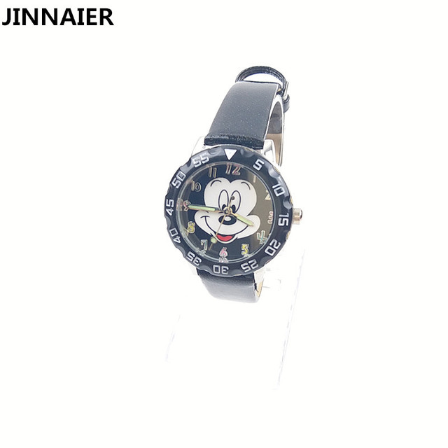 1 Unit /lot Retail Fashion Cartoon Mickey Mouse Watches For Girls Women Leather