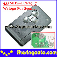 Excellent Quality 3 Button Remote Smart Card With Logo with pcf7947 chip For Renault Scenic free shipping (1pcs/lot)