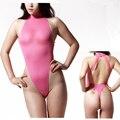 Sexy Thong Leotard Bodysuit Backless High Neck High Cut Sleeveless Sheer Ice Silk Erotic Lingerie Women Underwear Hot Sale