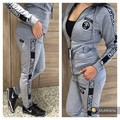 Womens Tracksuit Set Hooded Sweatshirt Letter Printed Autumn Winter Coat Ladies Playsuit Gray Drawstring Female Two Piece Outfit