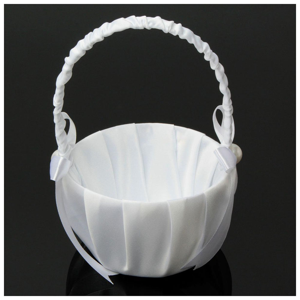 Buy Hot Romantic White Satin Bowknot Pearl Flower Girl Basket