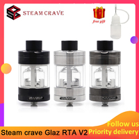 In stock Steam crave Glaz RTA V2 31mm Vape tank 7ml/10ml Capacity semi restrictive airflow by AFC adjustment E cig Atomizer