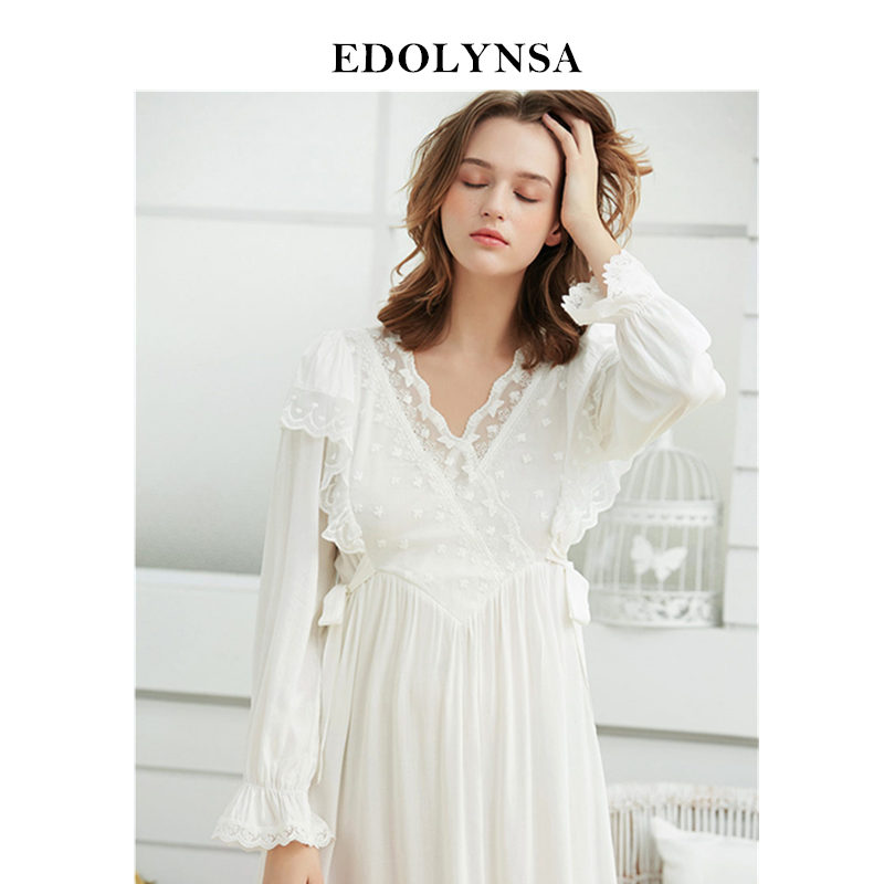 Luxury Sleepwear Women Autumn Home Wear Elegant Nightgown Vintage Lace V Neck Long Sleeve Mid Calf