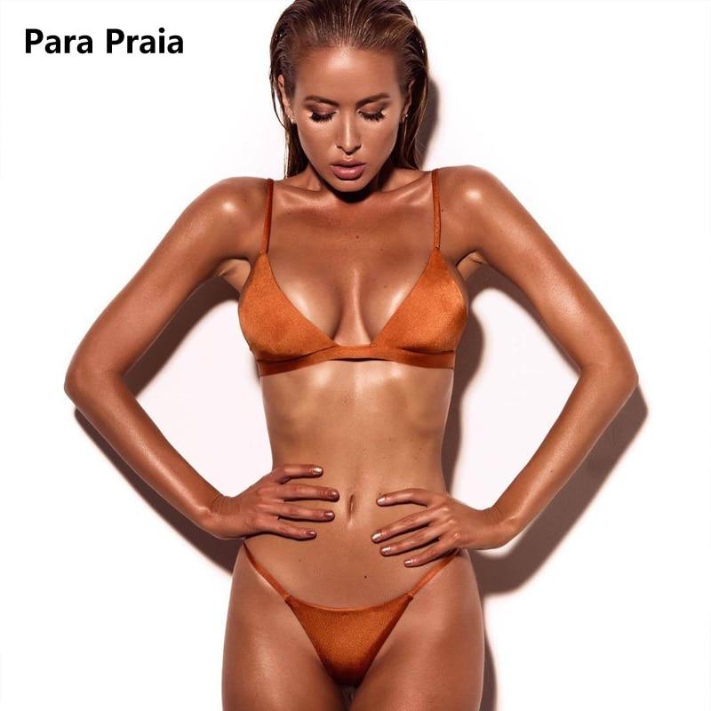 9 Colors Solid Bikini Set 2019 Sexy Push Up Swimwear Women Brazilian Swimsuit Low Waist Biquini Halter Two Pieces Bathing Suit 1