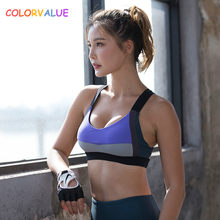 86271dcd7b Colorvalue High Support Sport Bra Top Women Quick Dry Padded Fitness Gym  Sport Brassiere Contrast Color Yoga Dance Bra Underwear