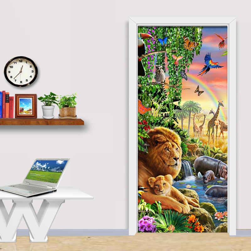 2 Pieces/Set Creative DIY 3D Wall Door Stickers Animal World Lion Forest Wallpaper Kids Bedroom Home Decor Door Decals 3D Poster