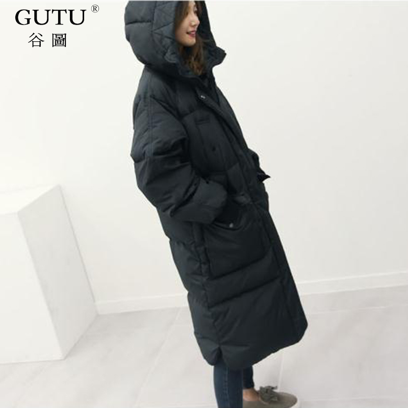 [GUTU] 2017 Autumn And Winter New Korean Solid Color Hooded Collar Long Sleeves Zipper Wide-waisted Down Jacket Woman EA20201 new arrival autumn and winter 2017 outdoor softshell long sleeves solid color zipper pocket sports windbreaker men 150