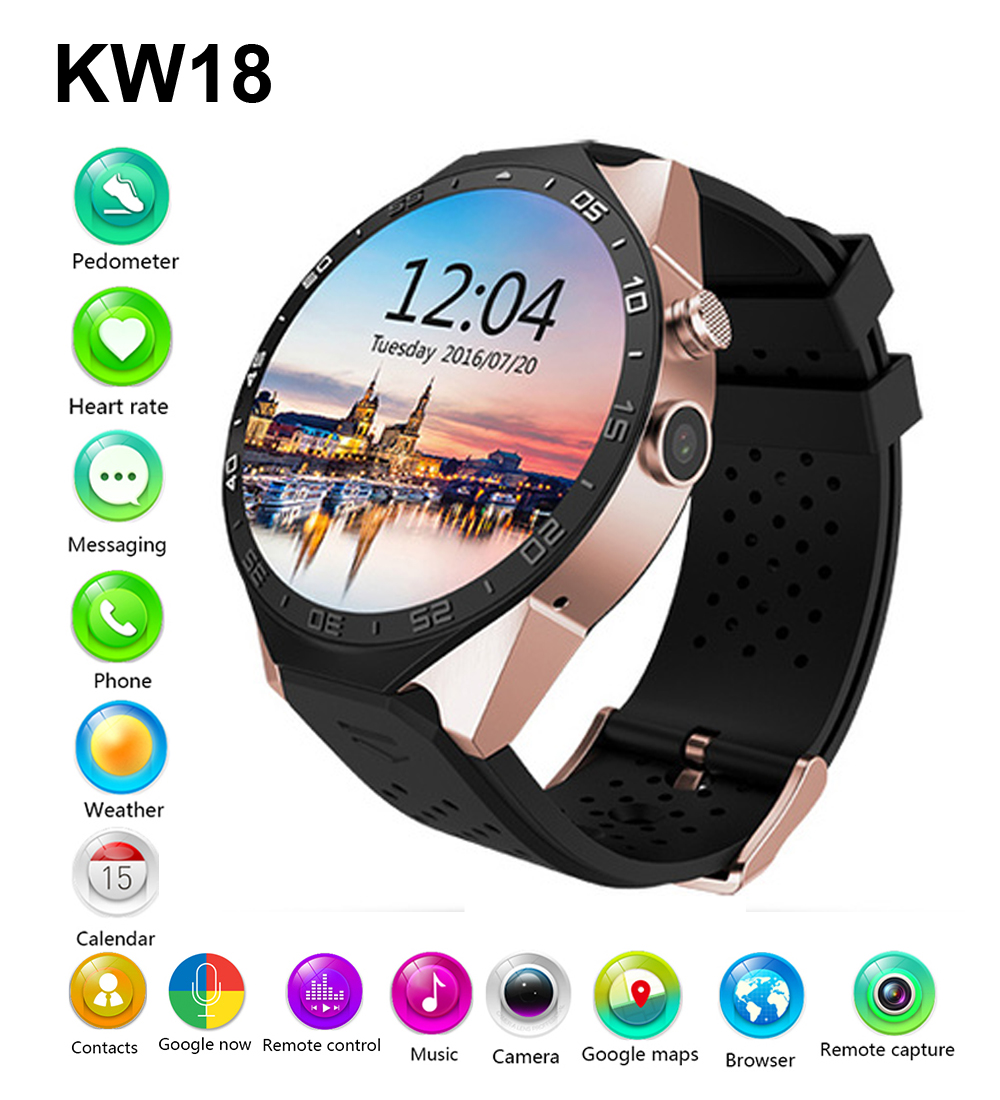 New KW88 Bluetooh Smart Watch Pedometer Heart Rate Monitor font b Smartwatch b font for Samsung