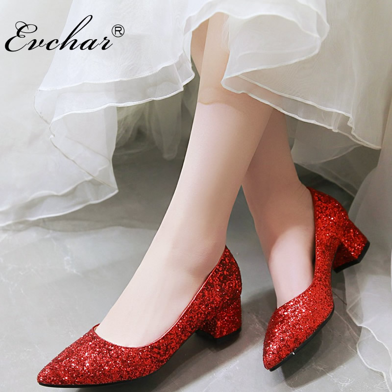 Women Wedding Shoes Silver Golden red Dress Shoes Pointed Toe Woman Sequined Cloth Med heels Shoes Glitter Pumps Boat Shoe 32-43 2018 fashion design see through silver glitter shoes pointed toe low heels lace mesh pumps wedding shoes