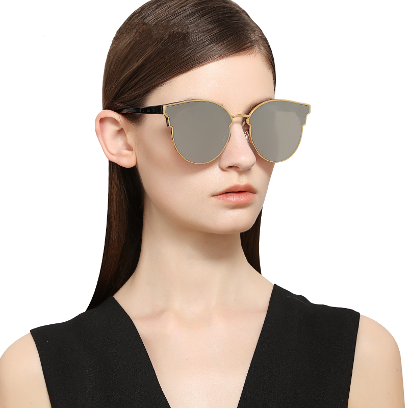 PARZIN Brand Quality Cat Eye Sunglasses For Driving Fashion Coating Mirror Glasses