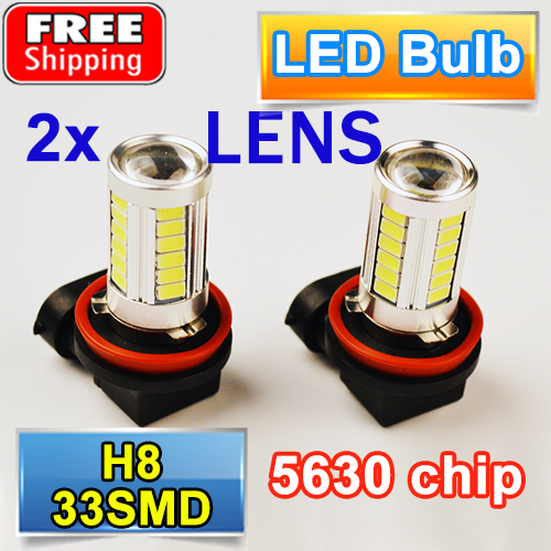 2 PCS H8 33SMD Car Fog Light Super White Auto Headlight 5630 SMD LED Bulbs with LENS 12V 4W 1pcs car led dc12v h8 fog lamp bright led light bulbs drl 33 5630 smd with lens xenon white ice blue yellow 2z9